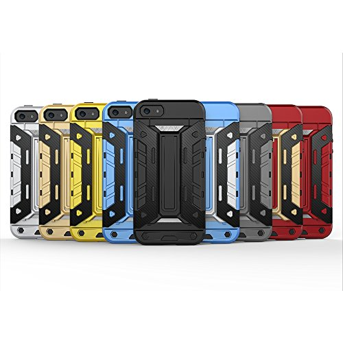 Forepin® 2 EN 1 Coque Étui Case Pour iPhone 6 / 6S, Ultra Slim avec Stand fonction Housse Béquille Support Intégrée TPU PC Cover Bleu 01