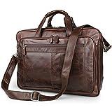 UBaymax Aktentasche Ledertasche Laptoptasche Notebook Tasche Handtaschen Umhängetasche Schultertasche Reisetasche Leder Herren 17 Zoll 3 Fächer ,Groß:43cm x 16.5cm x 30.5cm (17 Zoll Braun)