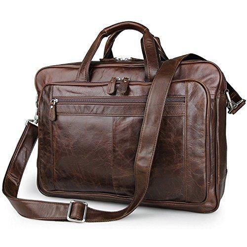 UBaymax Aktentasche Ledertasche Laptoptasche Notebook Tasche Handtaschen Umhängetasche Schultertasche Reisetasche Leder Herren 17 Zoll 3 Fächer,Groß:43cm x 16.5cm x 30.5cm (17 Zoll Braun)