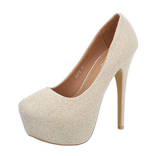 Ital-Design High Heel Pumps Damen-Schuhe High Heel Pumps Pfennig-/Stilettoabsatz High Heels Pumps Gold, Gr 37, 0072-