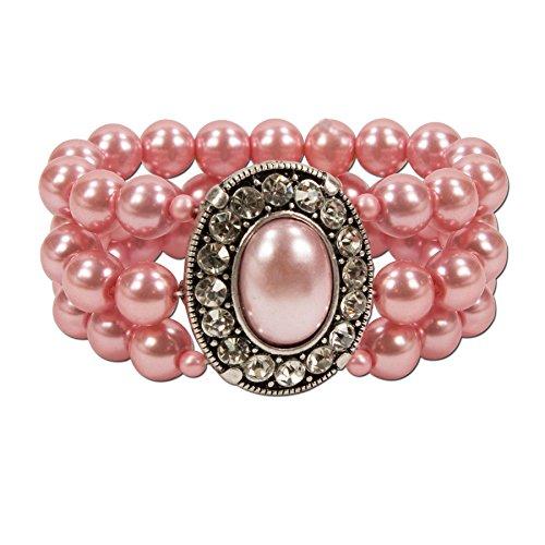 Alpenflüstern Perlen-Trachten-Armband Sissi - Damen-Trachtenschmuck, elastische Trachten-Armkette, Perlenarmband mehrreihig rosé-rosa DAB033