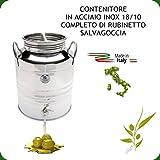 FUSTO IN ACCIAIO INOX 18/10 PER OLIO LT. 20 + RUBINETTO