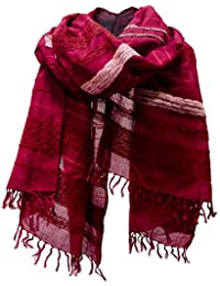 Striped Cotton Silk Shawl Scarf Stole Wrap Red Pink