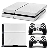 DOTBUY PS4 Vinyl Decal Full Body Skin Sticker For Sony Playstation 4 Console And 2 Dualshock Controllers (Carbon Fiber White)