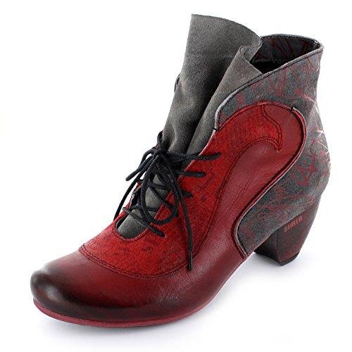 Simen Knöchelhohe Damen Stiefelette aus Leder in rot Rot
