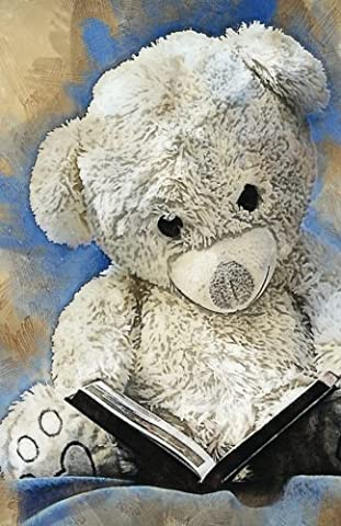 Teddy Bear Grunge Vintage Journal Notebook, 4x4 Quad Rule Graph