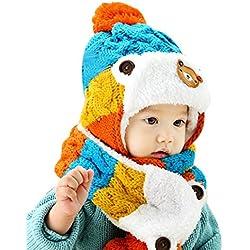 Gorros Bebé,Xinan Niño Niña Invierno Sombrero Tejido de Lana (Azul)