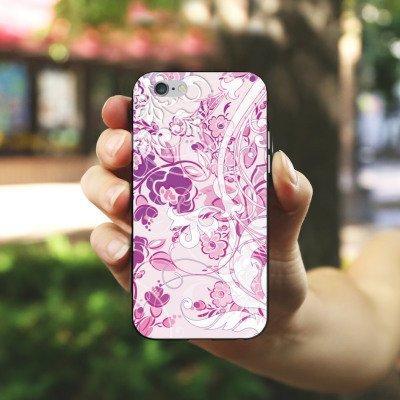Apple iPhone X Silikon Hülle Case Schutzhülle Muster Blumen Floral Silikon Case schwarz / weiß