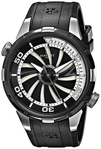 Perrelet Men's A1067/1 Turbine Diver Analog Display Swiss Automatic Black Watch