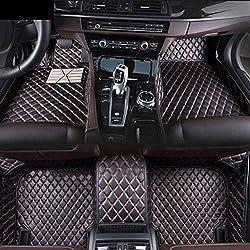 Fußmatten für B ENZ CLA Class AMG 2014-2017 rutschfeste Abnutzung Bodenmatten-Leder Material Automatten Teppiche (Schwarz Rot)
