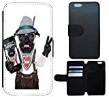 Carcasa FLIP COVER Funda Funda Case Para, tela, 1114 Hund Bayern Lederhose Braun Weiß, Apple iPhone 6 / 6s