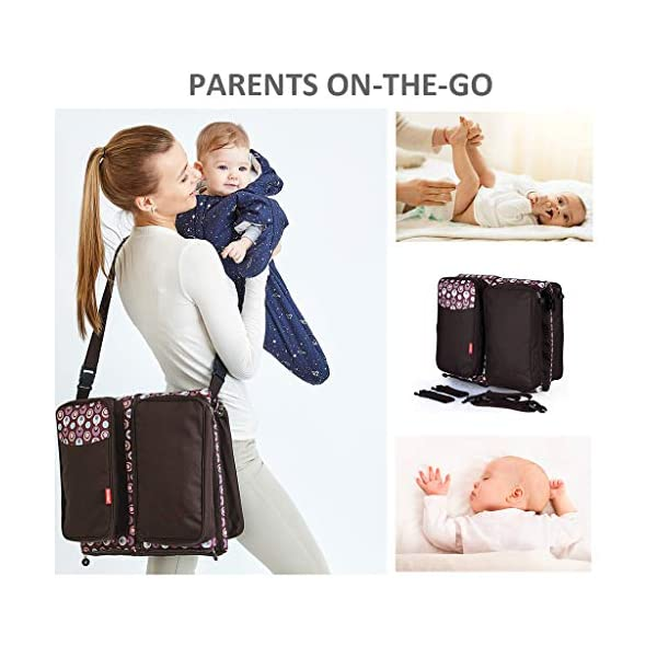 Baby Changing Bags 3-in-1 Universal Foldable Baby Travel Bed Portable Bassinet Crib Diaper Bag 0-12 Months, Brown WYTbaby ✿ BABY CHANGING BAG: This folding nappy bag not only can be a bag for putting baby diapers and baby daily stuffs but also can be a travel cot. It's pretty convenient and portable. Foldable is its special features. Crib is for your child to lay down and get some proper sleep during nap time. To have a padded space to play while staying safe and germ-free. It's really recommended for travel. ✿ STROLLER STORAGE BAG: Our multi-purpose diaper bag will neatly stash away all of your babies important stuffs with zippers for food, bottles, wipes and more. ✿ PRACTICAL HANDBAG: This versatile carry bag with adjustable and detachable shoulder straps and stroller straps. You can buckle it up to pram and pushchair, on the back of a carseat or on a shopping trolley. 3