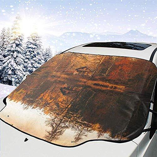 Herbst Herbst Cottage Haus Hütte Hütte See Wasser Auto Windschutzscheibe Schneedecke Frostschutz Auto Front Windschutzscheibe Schnee Eisdecke Passt Autos Geländewagen