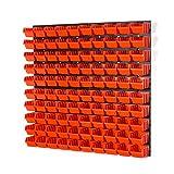 104 teiliges Wandregal Lagerregal Werkzeugwand 100 Stapelboxen orange POP Serie Gr.1 + 4 Wandplatten