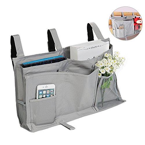 Organizador bolsa cama con 6 bolsillos para colgar en cama o cuna, asiento de coche como complemento de mesillas Gris plateado