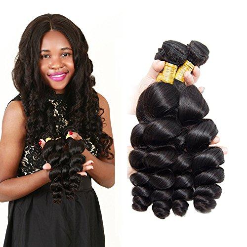 Brazilian Remy Hair Loose Virgin Hair Loose Wave Real Human Hair Extension Curly Brazilian Virgin Hair Brazilian Hair Waves Short Grade 8A Brazilian Human Hair 12 14 16Inch -