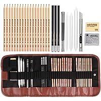 Set de Dibujo Artístico, Lápices de Madera, Set de Lápices Profesional del Artista y Bosquejo Carbón Grafito Sticks, para Artista Principiante Niños Adultos