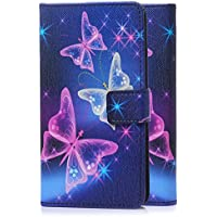 tinxi® Kunstleder Tasche für Sony Xperia E5 Tasche Schutz Hülle Schale Etui Case Cover Standfunktion mit Karten bunte Schmetterling