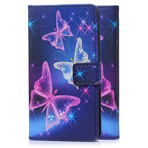 tinxi® Housse en similicuir PU pour Alcatel Onetouch Go Play 5 Pouces Etui de protection avec la fonction de support et la fente motif papillon violet