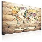 murando Mappa del mondo per il fissaggio puntine & Quadro su tela 90x60 cm 1 Parte Pannello di fibre Quadro decorativo su tela lavagna per le note viaggio Legno Tavola k-C-0077-v-a
