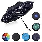 G4free Double Layer Inside Out Regenschirm Cars Reverse Inverted Regenschirm Große Stick Windproof Regenschirm für Männer und Frauen (Polkadot Schwarz/Weiß)