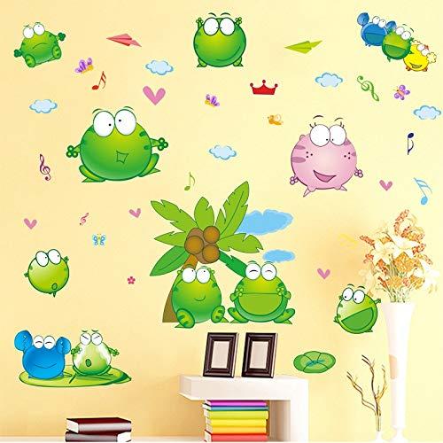 Wall Sticker ZOZOSO Lindo Estanque Rana De Dibujos Animated Animal Animal Pegaras Para Habitaciones De Niños Bebé Dormitorio Cuarto De Baño Puerta Von Azulejo Autozubehör Dekoratives Dekaletten (Puerta Para Bebe)