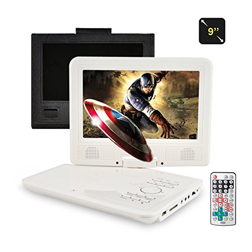 Tragbarer DVD-Player, fengjida 9 Zoll DVD player tragbar, Lesen direkt Die Formate AVI, RMVB, MP3 und JPEG, compatiblement mit SD/USB (Portable Dvd-player White)