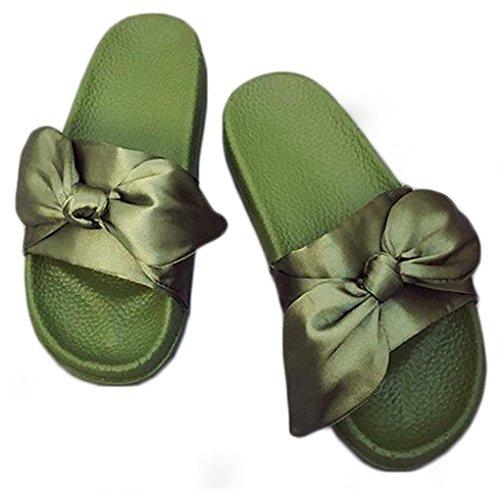 NEWZCERS Sandali di prua femminili, pantofole morbide e morbide e sottili Verde
