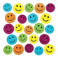 Baker Ross Happy Face Glitter Foam Stickers (Pack of 100) Smiley Face Puffy Scrapbook Stickers in Fun Foam Shapes