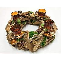 Weihnachtskranz natur dauerhaft mit Moos Spiegelbeeren Teelichthaltern Treibholz