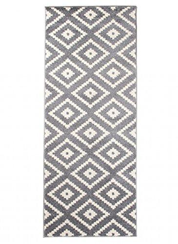 Carpeto Läufer Teppich Modern Grau 70 x 200 cm Geometrische Muster Kurzflor Furuvik Kollektion