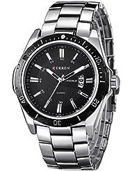 Inwet Mode Silber Herren Quarz Armbanduhr,Schwarz Zifferblatt Analoge Anzeigen mit Datum,Edelstahl Armband