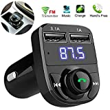 EYUVAA Wireless Car FM Transmitter with Bluetooth and USB, Handsfree Call, Car Charger