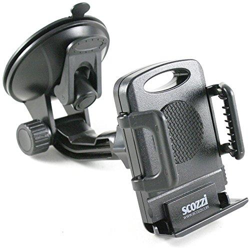 scozzi KFZ Halterung für SONY Xperia XZ / Z5 / Z5 Premium / Z5 Compact / Z3 / Z3 + Plus / Z3 Compact / Z2 / Z1 / Z1 Compact / Z / Z Ultra / X Compact / E5 / XA / X / M5 / X Performance / ZL / E / SP / L / T2 Ultra / M2 / E1 / style / M2 Aqua / E3 / E4g / M4 Aqua / Auto Halter für die Windschutzscheibe in schwarz
