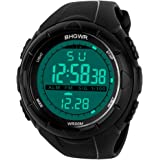 Mens Sports Digital Watch - 5 Bars Waterproof Military Digital Watches with Alarm/Timer/SIG, Black Large Face Outdoor Sport L
