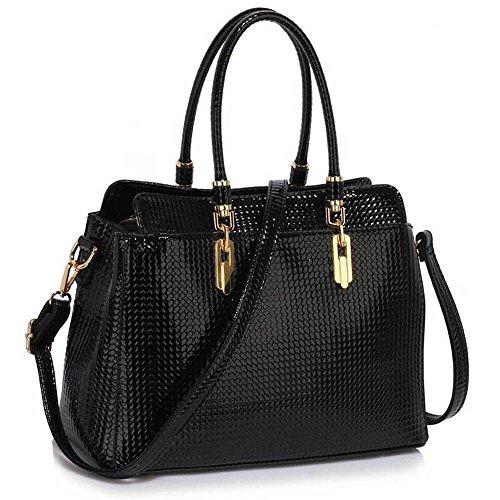 TrendStar Damen-Taschen-Tasche Schultertasche Promi-Art-Frauen Entwerfer Poliertes Hardware Faux Leder Schwarz