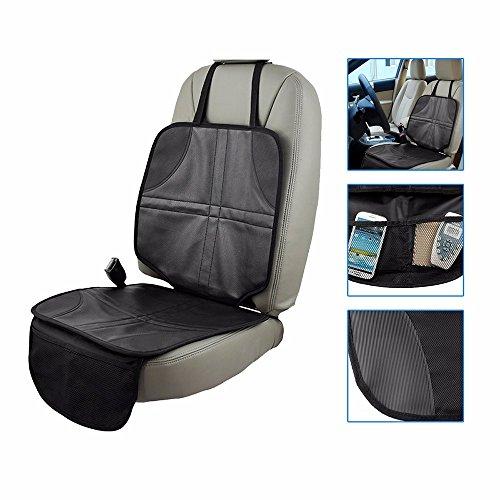 Fontic 48x110cm Autositzauflage zum Schutz vor Kindersitzen Anti-Rutsch Kindersitzunterlage mit Netztasche Kindersitz Sitzauflage aus Oxford Schoner in universeller Passform