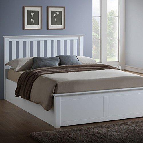The Luxury Bed Co. Phoenix poggiapiedi per Letto–Easy Lift Up Spring doghe Organizer portaoggetti–spaziosa per Coperte, Fogli, Libri e Scarpe–Soggiorno/Camera da Letto mobili, Bianco