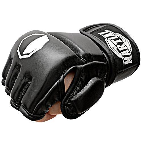Box-handschuhe (MARTIAL MMA Handschuhe mit hochwertiger Polsterung! Boxhandschuhe für hohe Stabilität im Handgelenk. Freefight Gloves mit langer Haltbarkeit für Kampfsport, Boxen, Kickboxen, Sparring inkl Beutel! (Schwarz, L))