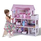 COSTWAY Puppenhaus Holz Puppenstube Puppenvilla Mädchen Spielzeug 3 Etagen mit Möbeln und Zubehör