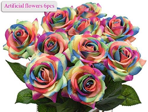 Meiwo 6pcs 43cm / 17in Runde Rosen voller Blüte künstliche Seide echte Touch Blumen für Wohnkultur, Parteien, Hochzeiten, Büros, Restaurants(Regenbogen) (Regenbogen-parteien)