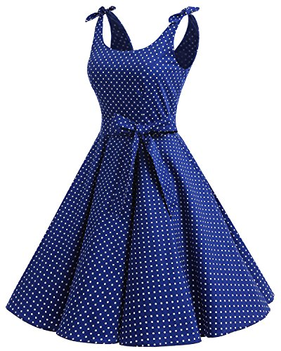 Bbonlinedress 1950er Vintage Polka Dots Pinup Retro Rockabilly Kleid Cocktailkleider Blue White Dot XL - 2
