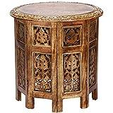 Marokkanischer Tisch Beistelltisch aus Holz Ashkar Braun ø 45cm groß rund   Orientalischer runder Hocker Blumenhocker orientalisch klein   Orientalische runde kleine Beistelltische klappbar