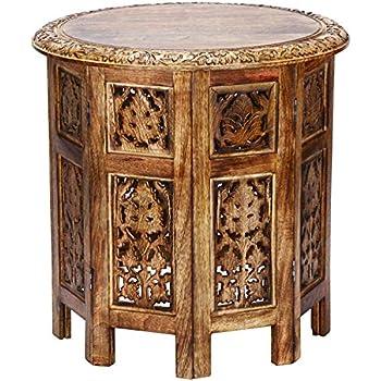 démontableDécoration orientale en Petite basse marocaineGuéridon rondeTable Chevet bois d'appoint Table pliant 45cm pliante de Ashkar Marron 34LS5cARqj