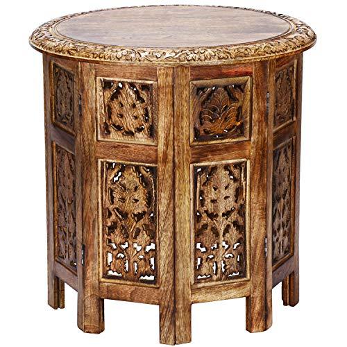 Marokkanischer Tisch Beistelltisch aus Holz Ashkar Braun ø 45cm groß rund | Orientalischer runder Hocker Blumenhocker orientalisch klein | Orientalische runde kleine Beistelltische klappbar