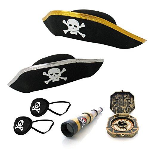 papapanda Kinder Piratenhut Augenklappe Kapitän Fernrohr Jack Sparrow Kompass