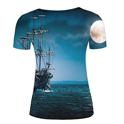 Mens 3D Printed Night/Big Wheel/Sea Moon Graphic Couple T-Shirts D