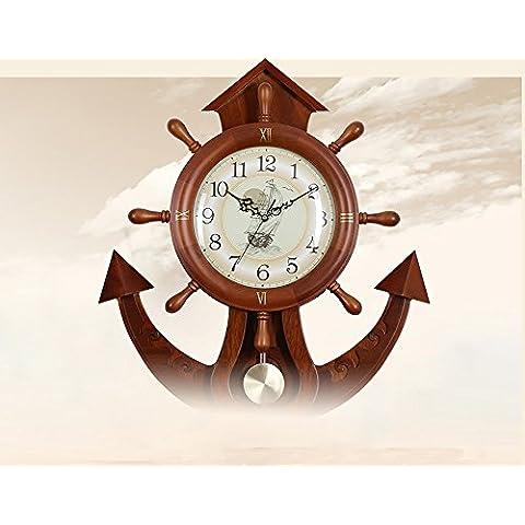 LILSN Reloj de la hoja de arce Reloj de pared creativo del barco del ancla del timón Salón Estilo chino creativo Reloj de madera clásico de madera tradicional de la individualidad