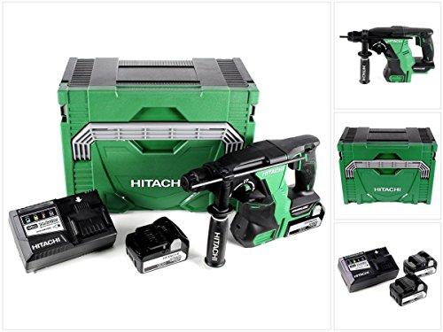 Hitachi DH 18DBL 18V Li-Ion Brushless SDS-Plus Batterie perforateur dans le système Hitachi Case HSC type 3+ 2x BSL 185018V 5Ah Batterie + 1x UC 18ysl3Chargeur 14,4-18V