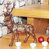 H & S - Zauberhafter großer dekorativer HIRSCH - glänzende Dekoration - 28 cm hoch - mit toller Metall - Anmutung, handgearbeitet und fein glänzend und glitzernd - für Herbst Winter Advent Weihnachten (Gold Braun)
